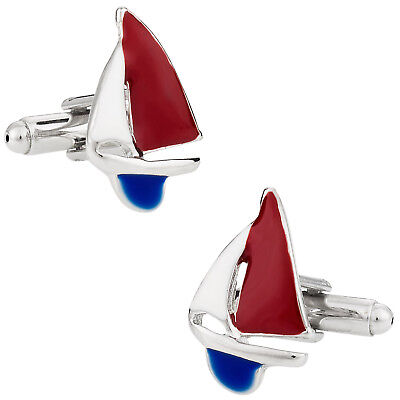 Red, White, & Blue Sailboat Cufflinks Direct from Cuff-Daddy