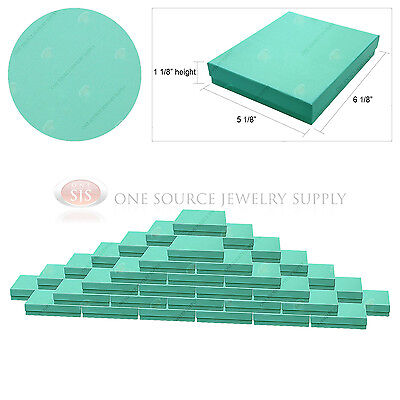 50 Teal Blue Gift Jewelry Cotton Filled Boxes 6 18 X 5 18 X 1 18 Pendant