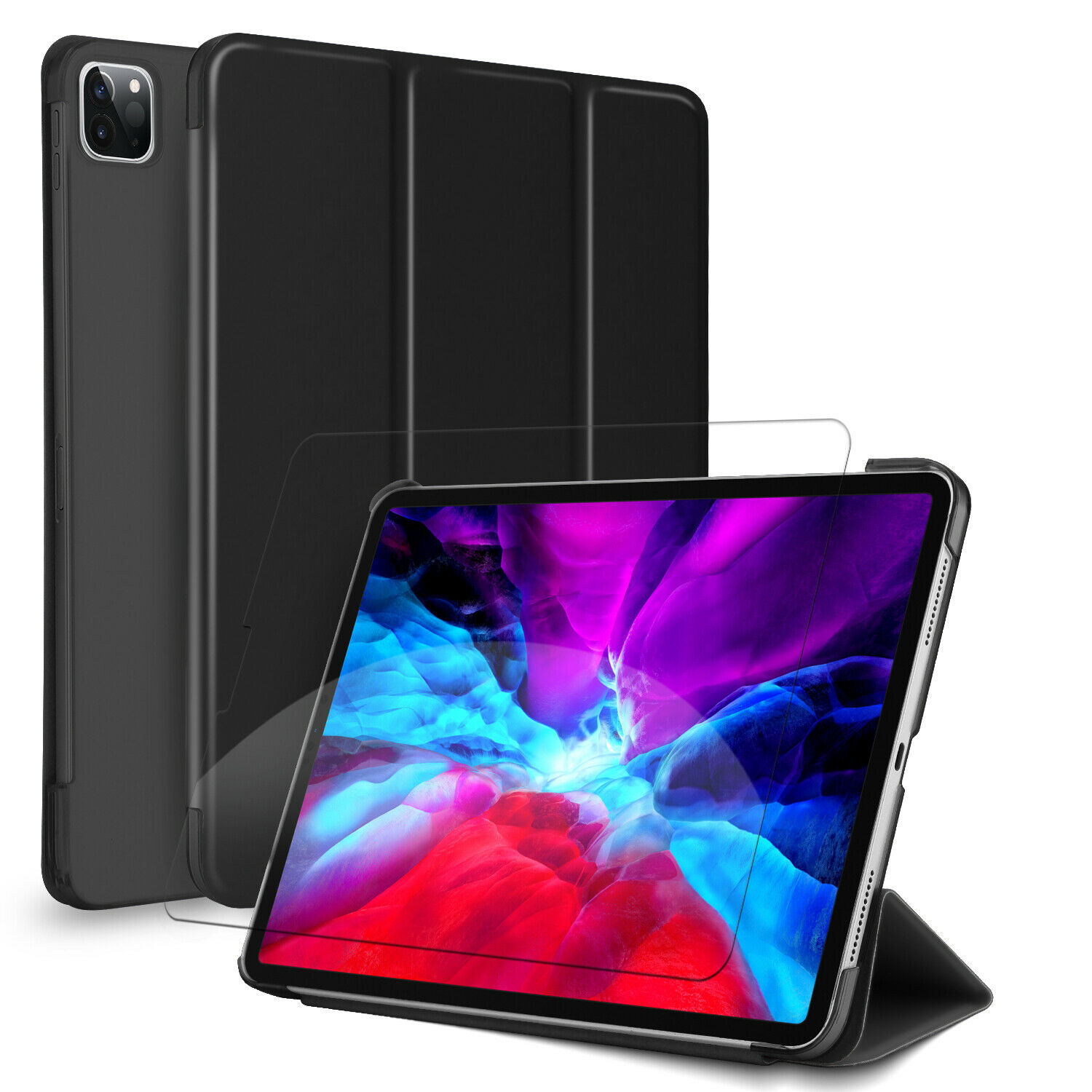 For iPad Pro 11-inch 2021/2020 Tablet Case Leather Stand Cover, Screen Protector Cases, Covers, Keyboard Folios