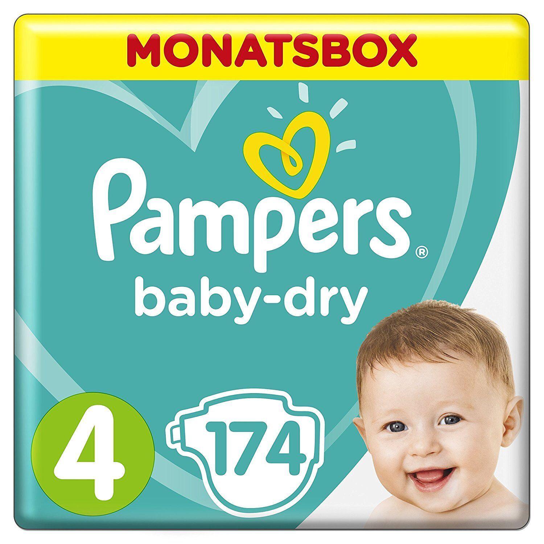 Pampers Baby-Dry Windeln, Gr. 4, 9-14kg, Monatsbox, 1er Pack (1 x 174 Stück)