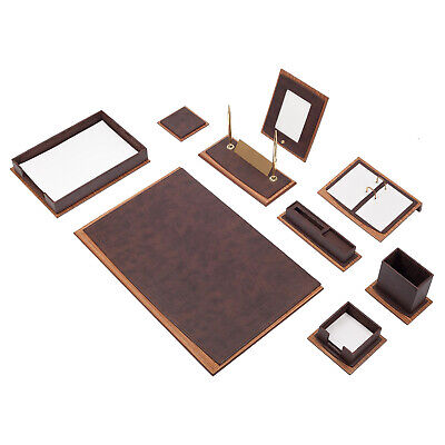 Star 11 Pcs Desk Set Made Of Leather Wood With Document Tray In 5 Colours