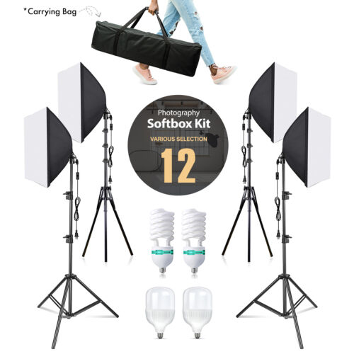 Photography Studio Lighting Softbox LED/CFL Lighting Kit with Carrying Bag