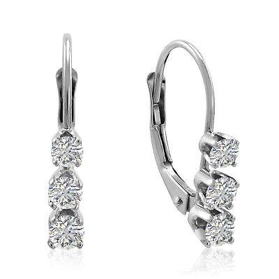 AGS Certified 1/2ct TW Diamond Lever Back Earrings in 14K Go