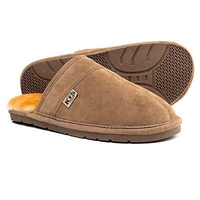 Rj's Fuzzies Sheepskin Scuff Snug Cosy Slippers Suede Tan Chestnut Medium 8-9
