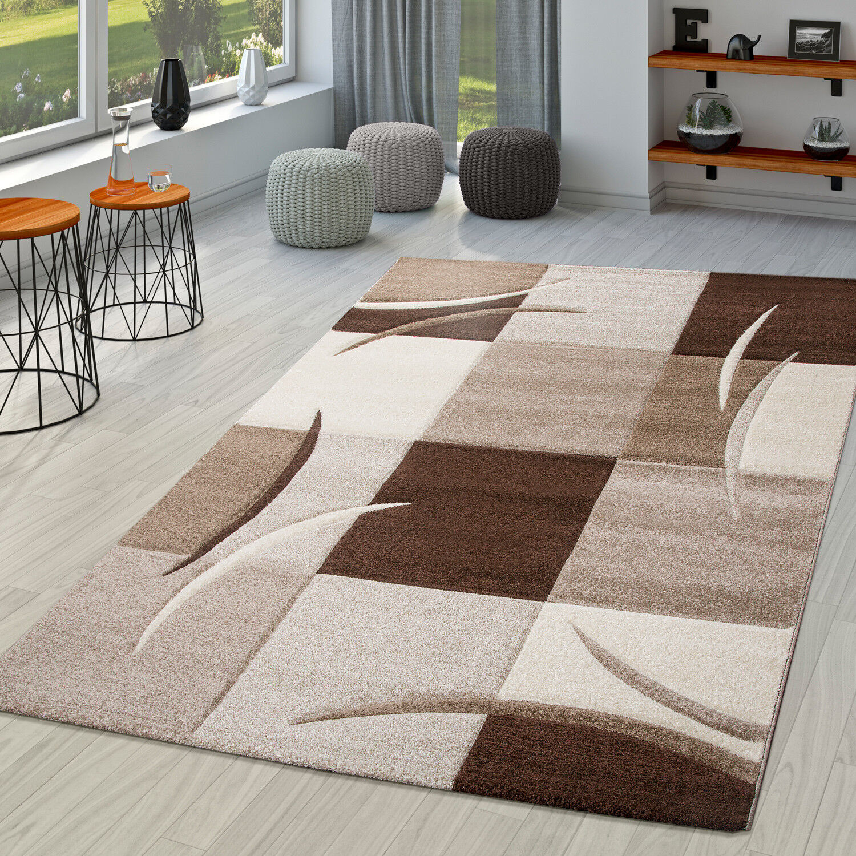 Wundervoll Teppich Wohnzimmer Modern Palermo Mit Konturenschnitt In Beige Creme Braun
