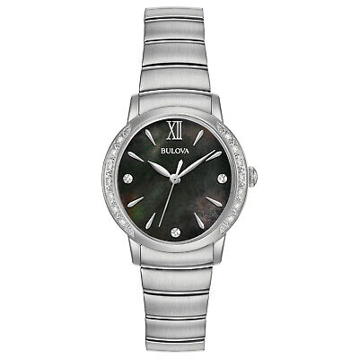 Bulova Diamond Black Dial - Bulova Women's Diamond Accents Black Dial Silver-Tone Bracelet 28mm Watch 96R213