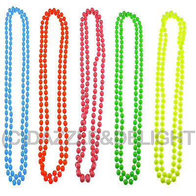 80'S NEON BEAD NECKLACE FANCY DRESS COSTUME LONG BEADED NECKLACE 1980 UV BRIGHT (1980 S Costumes)
