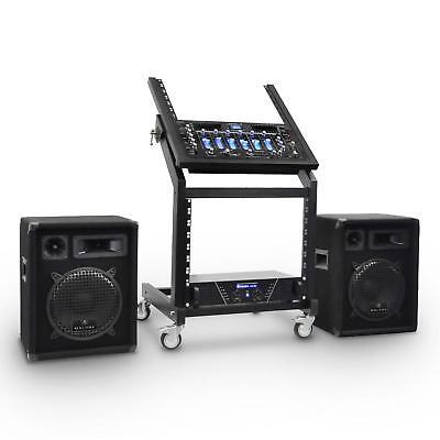 Set Completo Dj Altoparlanti Rack Supporto Mixer Consolle Amplificatore 4 Canali