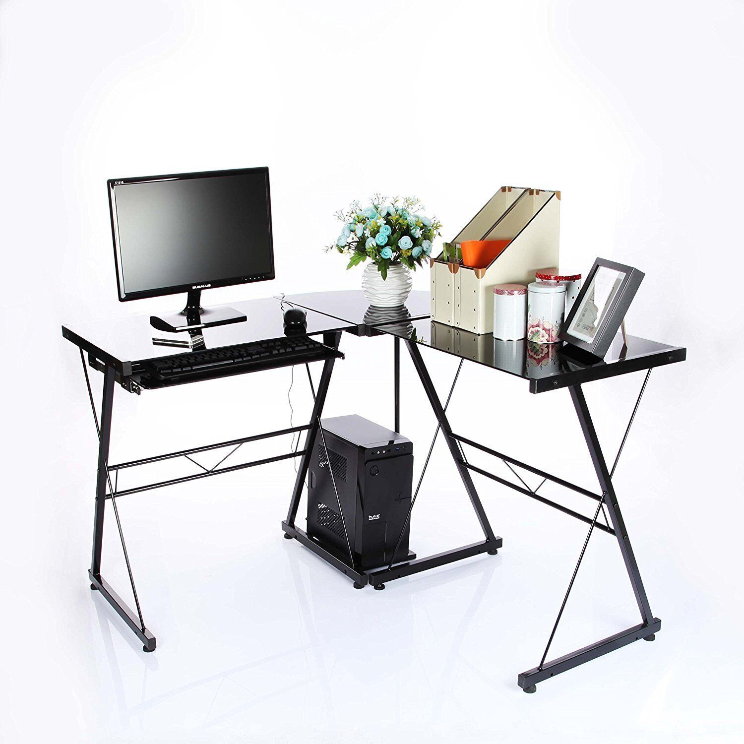 L-Shaped Corner Desk Glass/Metal • Stunning Black • Computer Desk Office Small