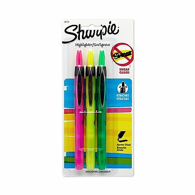 Sharpie Smear Guard Retractable Highlighters - Assorted Colors - 3-pack