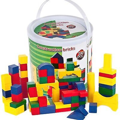 100 Piece Wooden Construction Building Blocks Bricks Urban Toys In A Tin Gift