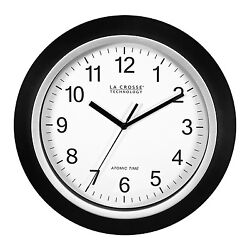 WT-3102B La Crosse Technology 10 Atomic Analog Wall Clock - Black NIB