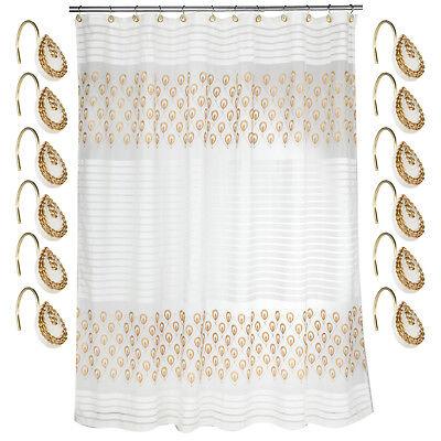 Bathroom Shower Curtain and Hooks Set- Beige/Gold Popular Bath Seraphina ()