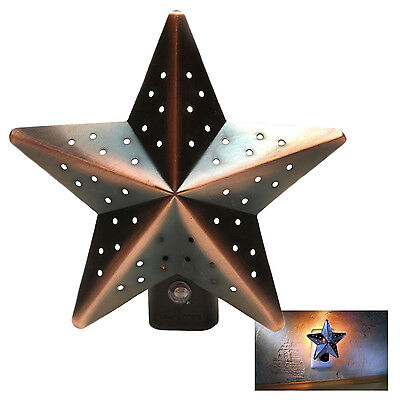Christmas Tree Tin Star Night Light Bronze Auto Photocell