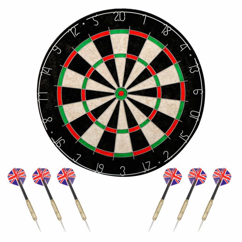 Dartboard Set with Staple-Free Bullseye High Grade Compressed Sisal Board