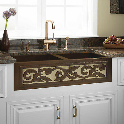 Hammered Copper Double Well Farmhouse  Kitchen Sink 50/50 Design, 33
