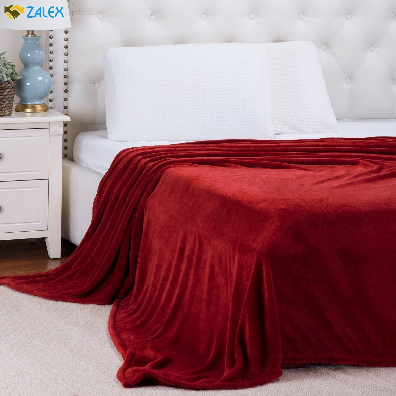 Flannel Fleece Blanket Red King Size Lightweight Cozy Plush