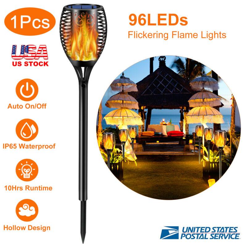 96 LED Solar Torch Light Flickering Dancing Flame Garden Lamp Decor Waterproof
