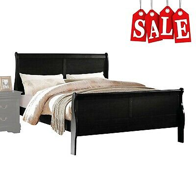 Queen Size Wooden Bed Frame with Headboard and Footboard Modern Bedroom Furnitur ()