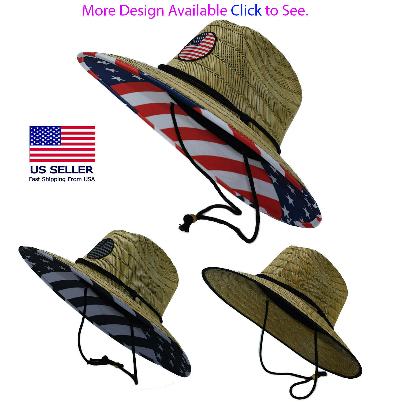 Men's Straw Sun Lifeguard Beach Hat Raffia Wide Brim, One Size