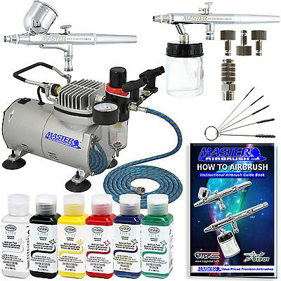 2 AIRBRUSH SYSTEM KIT w/ 6 Primary Testors Aztek Paint Color Set,...