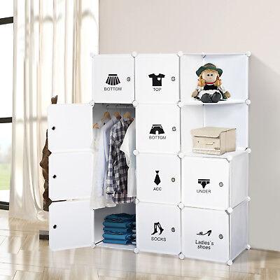 HOMCOM Wardrobe Closet Cupboard Storage Organizer 10 Cube Clothes Hang White