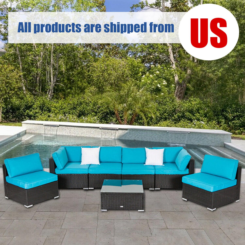 2-7PC Patio Sectional Sofa Furniture PE Wicker Rattan Set Ou