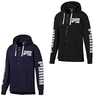 Puma Kapuzenjacke Herren dünn mit Fleece Rebel Bold FZ Hoody schwarz S-XXL Schwarz Logo Hoody