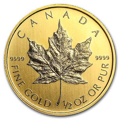 1/2 oz Gold Canadian Maple Leaf Coin - Random Year - SKU #83879