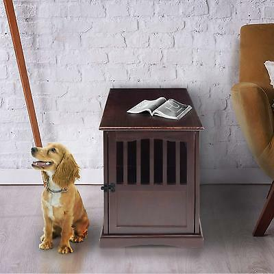Wooden Dog Crate Pet Decor Decorative Kennel Cage End Table Design Puppy Bed