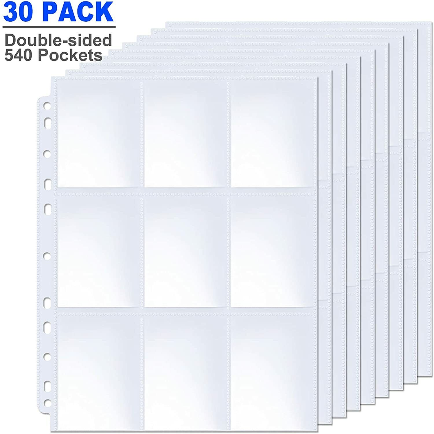 540 Pockets Trading Card Sleeves Pages Fit 3 Ring Binder, 9