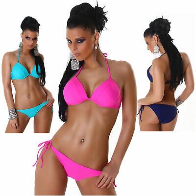 Neckholder-Bikini einfarbig Triangel Beachwear Strand Sommer Sexy Design Neu Grö