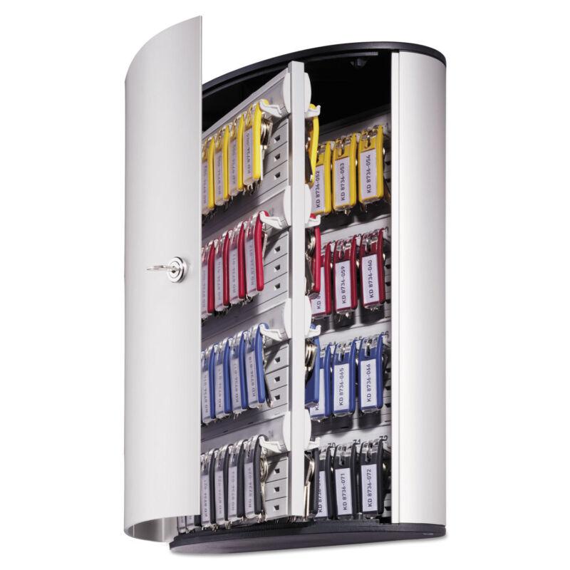 Durable Locking Key Cabinet 72-Key Brushed Aluminum 11 3/4 x 4 5/8 x 15 3/4