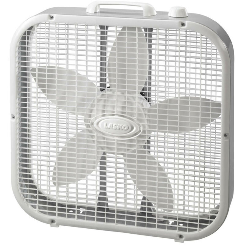 New 20 Inch Slim Lightweight White 3-Speed Box Fan with Save