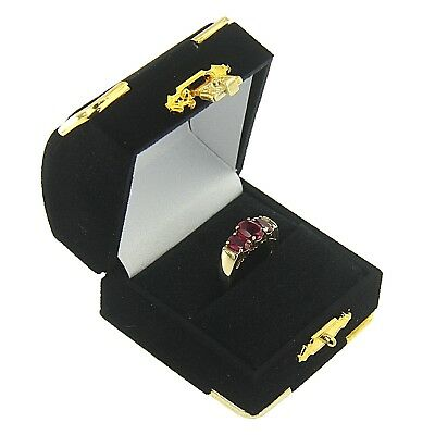 Black Velvet Engagement Ring Box Display Jewelry Gift Box Treasure Chest Velour (Treasure Chest Gift Box)
