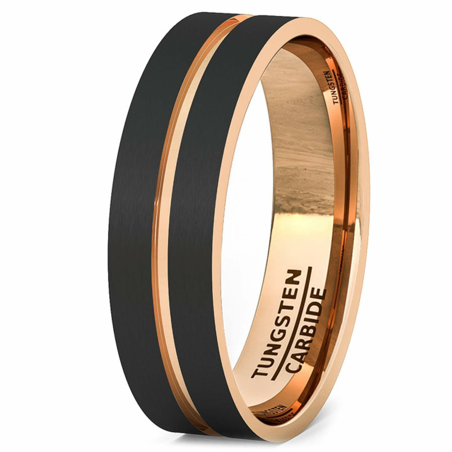 Wedding Band Black Tungsten Ring Brushed 18k Rose Gold Plated Mens Jewelry