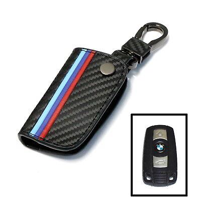 M-Colored Stripe Carbon Fiber Smart Remote Key Fob For BMW 1 3 5 6 Series X5 X6
