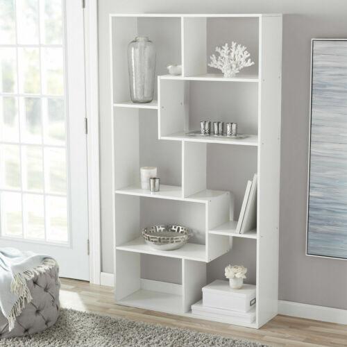 Tall Bookcase Cubby Large Open Bookshelf Modern Cube 8 Shelf Book Display White