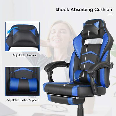 Office Gaming Chair Ergonomic Height Adjustable Footrest Racing Style Recliner