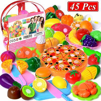 45Pcs/Set Food Pretend Role Play Toys Kitchen Cutting Fruit Vegetable Kids Gift