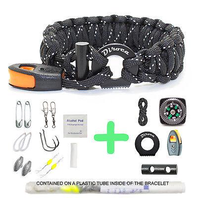 Paracord Bracelet Survival Gear | Reflective Black 550 Parachute Cord | 19 in 1  - Parachute Bracelets