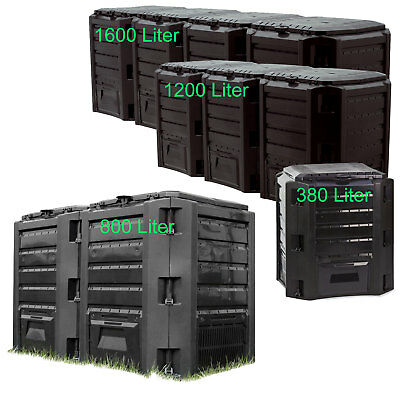 Schnellkomposter 380L 800L 1200L 1600L Schwarz Gartenkomposter Komposter