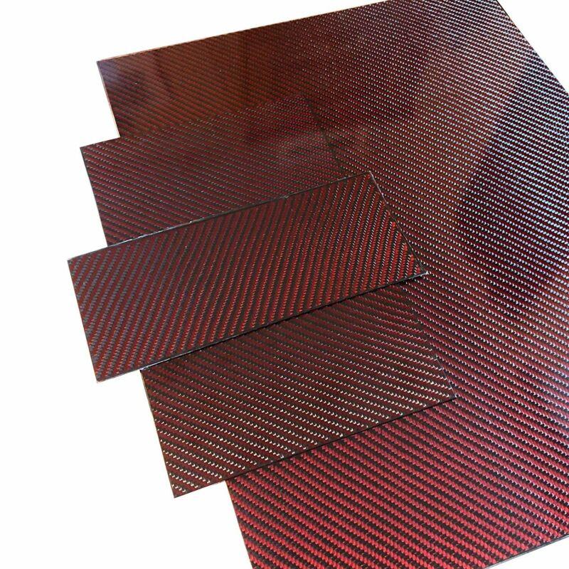 (2) Red Carbon Fiber Plate - 100mm x 250mm x 2mm Thick - 100% -3K Tow, Plain...