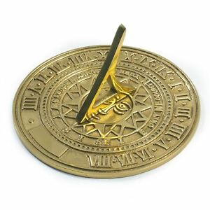 Solid Polished Brass Sun Face 120mm Diameter Garden Sundial