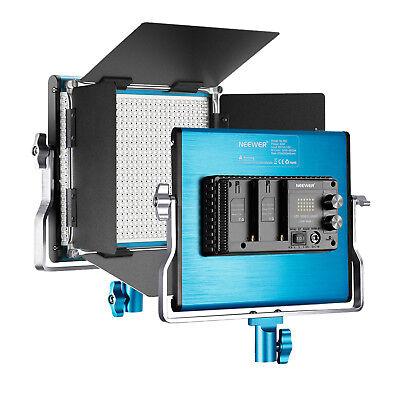Neewer Studio Dimmable Bi-color LED Video Light with U Bracket and Barndoor Blue