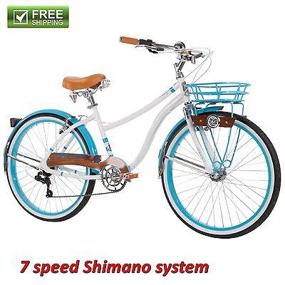 """Beach Cruiser Bike Women's 26"""" White Blue Hybrid Commuter Bicycle Shimano New!"""