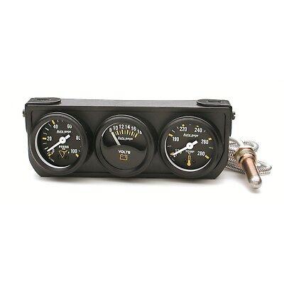 """AutoMeter 2396 Autogage Mechanical Black 1-1/2"""" Oil/Volt/Water Black Console"""