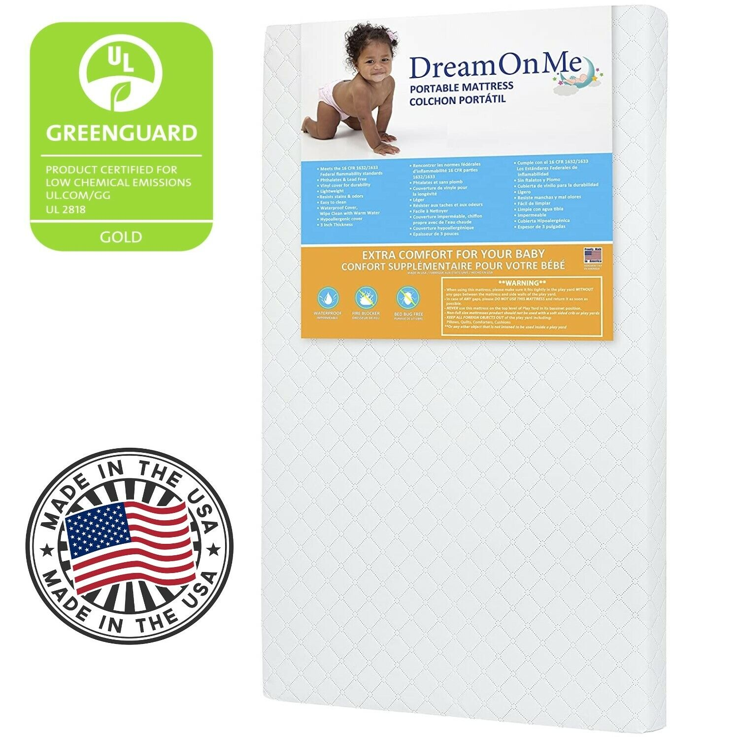 MATTRESS CRIB FOAM TODDLER Bed Baby Waterproof Infant Comfor