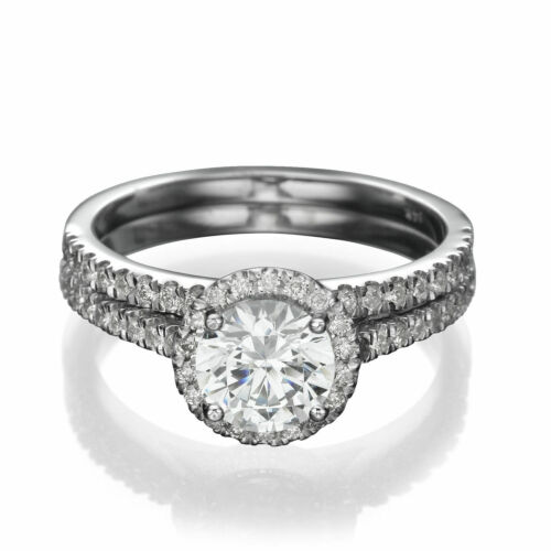 1 3/4 CT Diamond Engagement Ring Set Round D/VS2 14K White Gold Size Selectable - $1,779.05