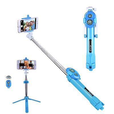 Blue Bluetooth Extendable Selfie Stick Tripod For Motorola Z3 Z2 One G6 E5 X4 X